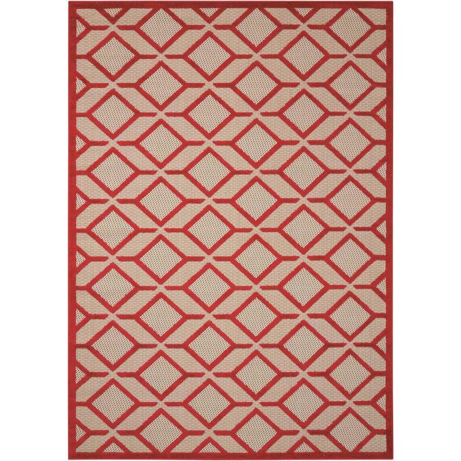 Nourison Aloha Red Rectangular Indoor/Outdoor Area Rug (Common: 9 x 13; Actual: 9.5-ft W x 13-ft L x 0.25-ft dia)