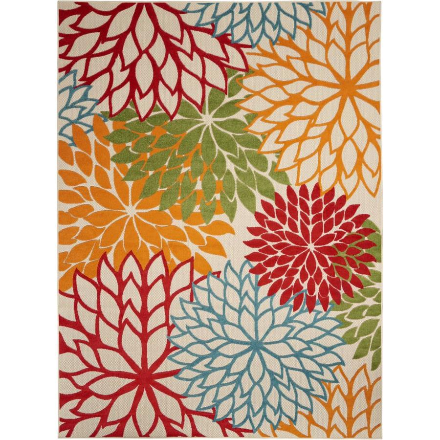 Nourison Aloha Green Rectangular Indoor/Outdoor Area Rug (Common: 9 x 13; Actual: 9.5-ft W x 13-ft L x 0.25-ft dia)