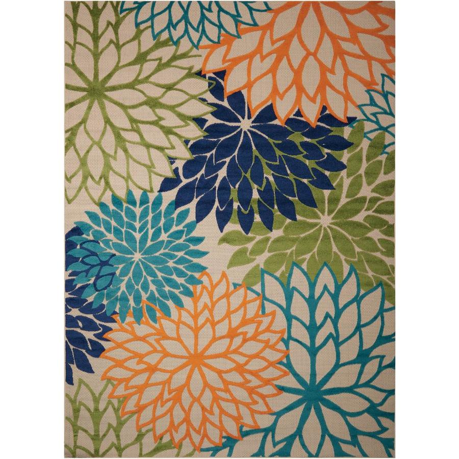 Nourison Aloha Multicolor Rectangular Indoor/Outdoor Area Rug (Common: 3 x 5; Actual: 3.5-ft W x 5.5-ft L x 0.25-ft dia)