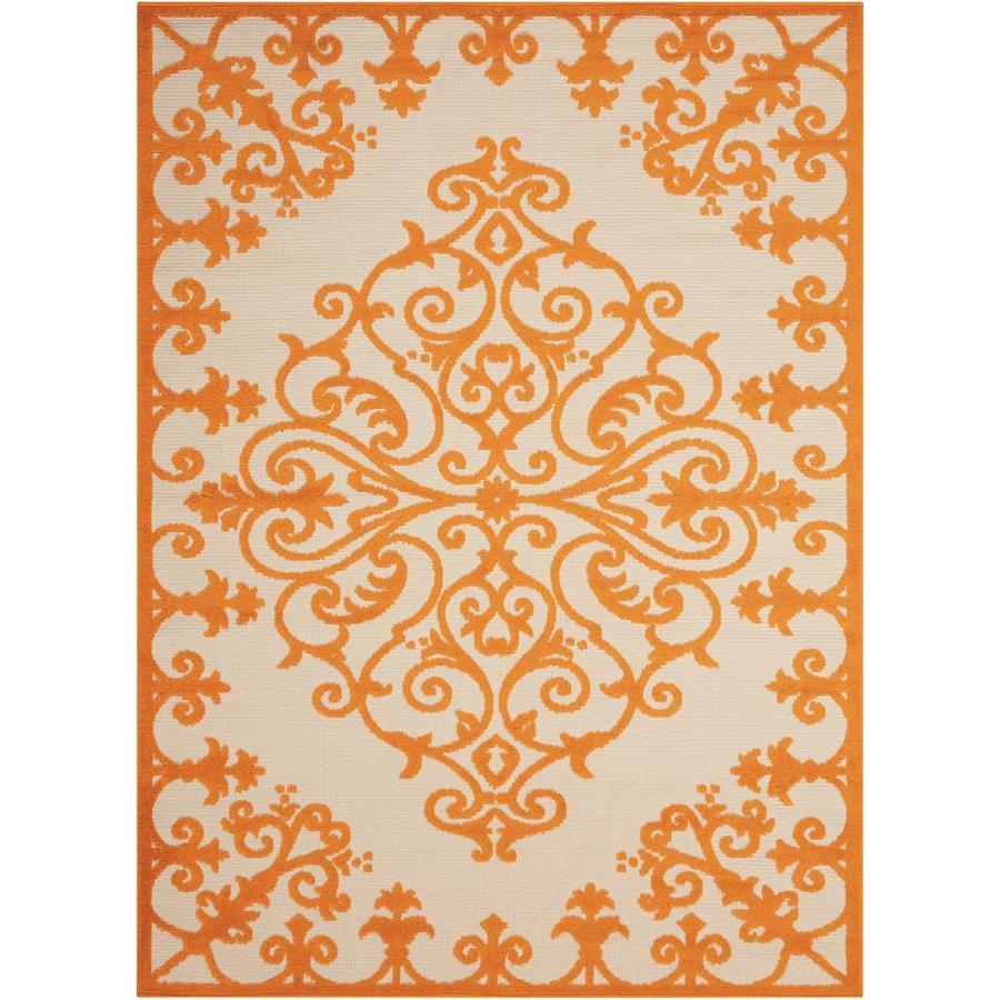 Nourison Aloha Orange Rectangular Indoor/Outdoor Area Rug (Common: 5 x 7; Actual: 5.25-ft W x 7.42-ft L x 0.25-ft dia)