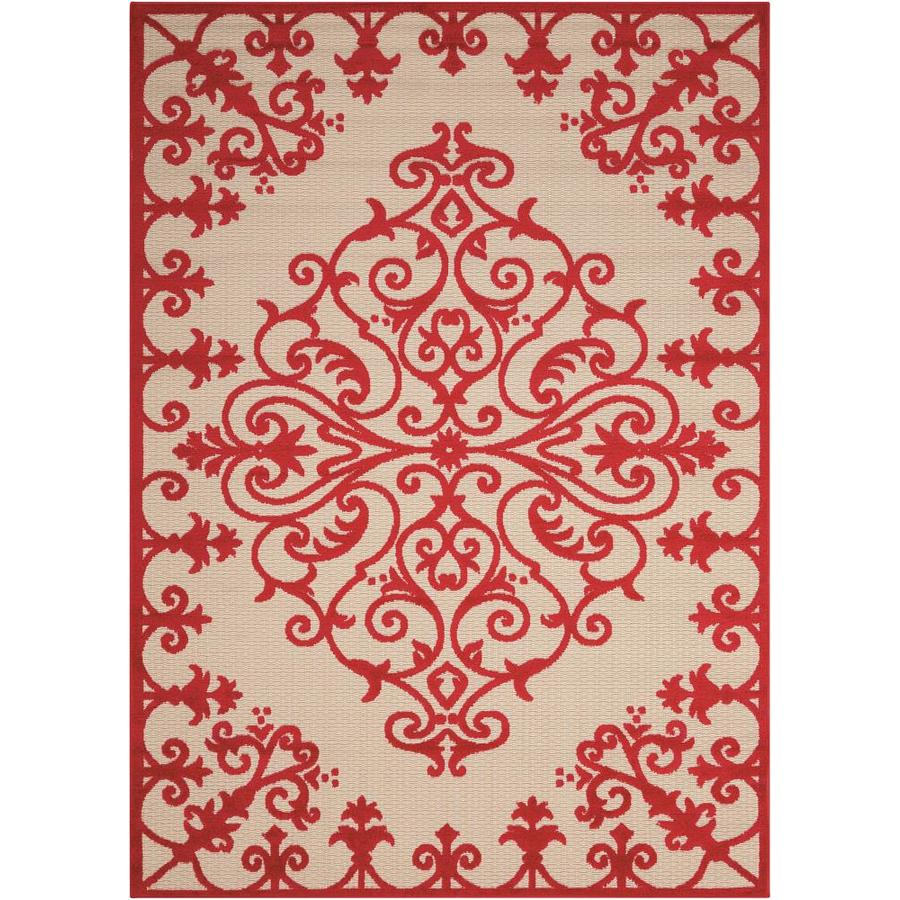 Nourison Aloha Red Rectangular Indoor/Outdoor Area Rug (Common: 3 x 5; Actual: 3.5-ft W x 5.5-ft L x 0.25-ft dia)