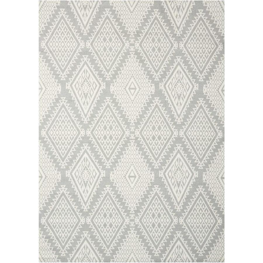 Nourison Enhance Grey Rectangular Indoor Area Rug (Common: 5 x 8; Actual: 5-ft W x 7-ft L x 0.25-ft dia)