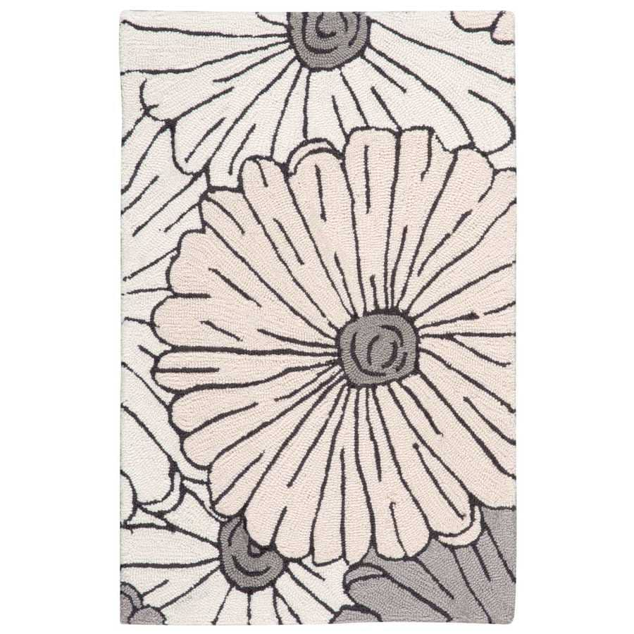 Nourison Fantasy Ivory Indoor Handcrafted Area Rug (Common: 2 x 3; Actual: 1.75-ft W x 2.75-ft L)