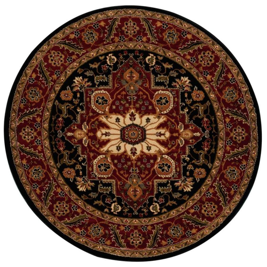 Black Graphic Woven Emerson Indoor Outdoor Area Rug: Nourison Paramount Black Round Indoor Area Rug (Common: 5