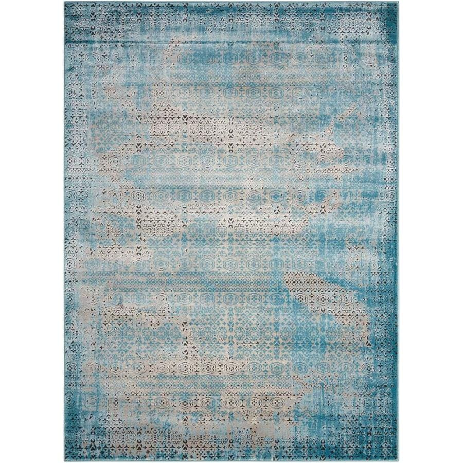 Nourison Karma Blue Rectangular Indoor Area Rug (Common: 3 x 5; Actual: 3.75-ft W x 5.75-ft L x 0.25-ft dia)