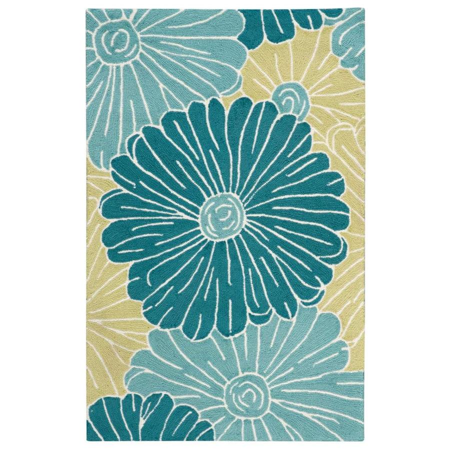 Nourison Fantasy Seafoam Rectangular Indoor Handcrafted Area Rug (Common: 3 x 4; Actual: 2.5-ft W x 4-ft L x 0.5-ft dia)