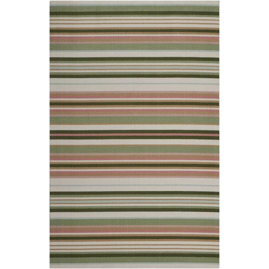 Nourison Wav01/Sun and Shade Light Green Rectangular Indoor/Outdoor Area Rug (Common: 4 x 6; Actual: 4.33-ft W x 6.92-ft L x 0.25-ft dia)