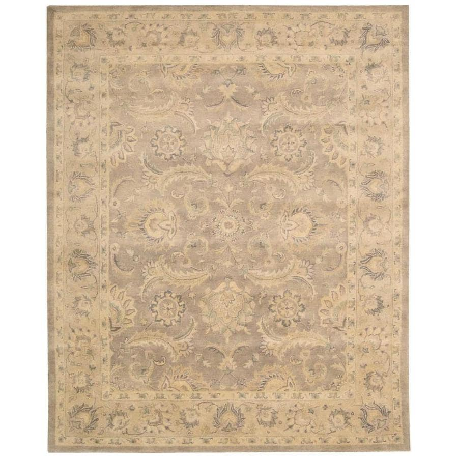 Nourison Jaipur Taupe Rectangular Indoor Handcrafted Area Rug (Common: 5 x 7; Actual: 5.5-ft W x 8.5-ft L x 0.75-ft dia)