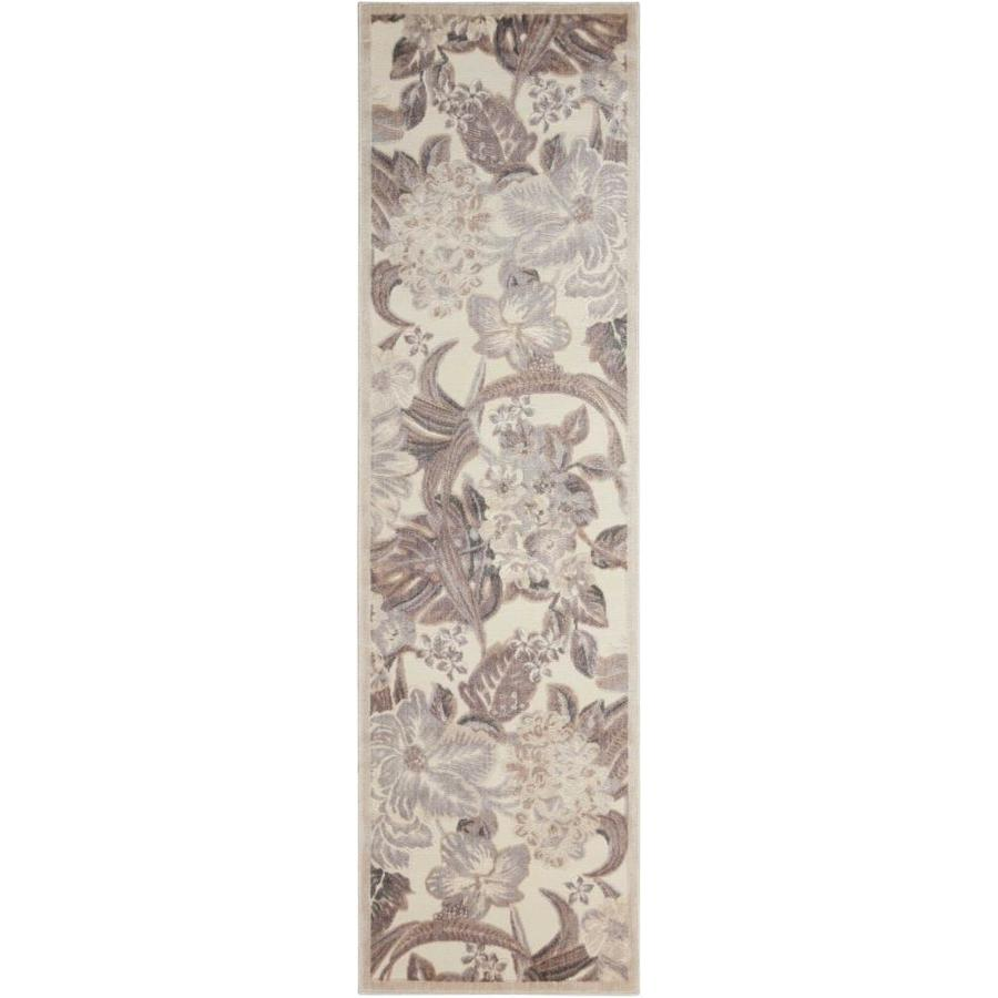 Nourison Graphic Illusions Ivory Indoor Area Rug (Common: 2 x 7; Actual: 2.25-ft W x 8-ft L x 0.5-ft dia)