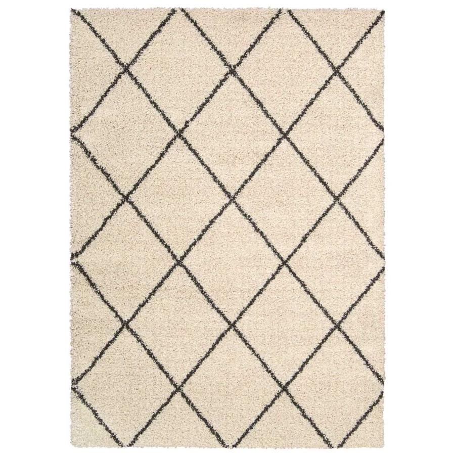 Nourison BRISBANE Ivory/Charcoal Rectangular Indoor Machine Woven Shag Area Rug (Common: 5 x 7; Actual: 5-ft W x 7-ft L x 1-ft dia)