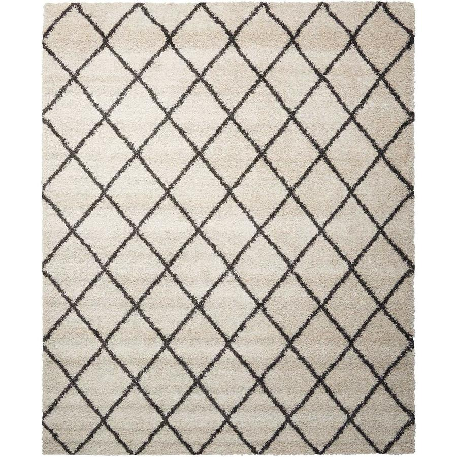 Nourison Brisbane Ivory/Charcoal Rectangular Indoor Area Rug (Common: 8 x 11; Actual: 8.17-ft W x 10-ft L x 1-ft dia)