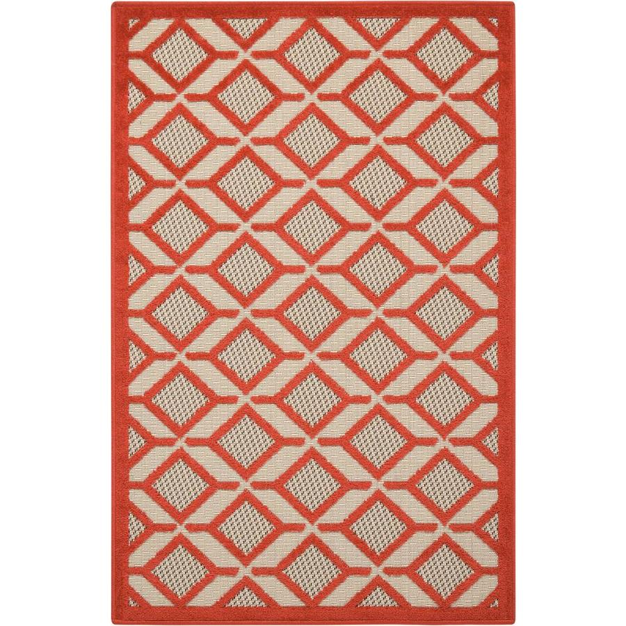 Nourison Aloha Red Rectangular Indoor/Outdoor Area Rug (Common: 3 x 4; Actual: 2.67-ft W x 4-ft L x 0.25-ft dia)
