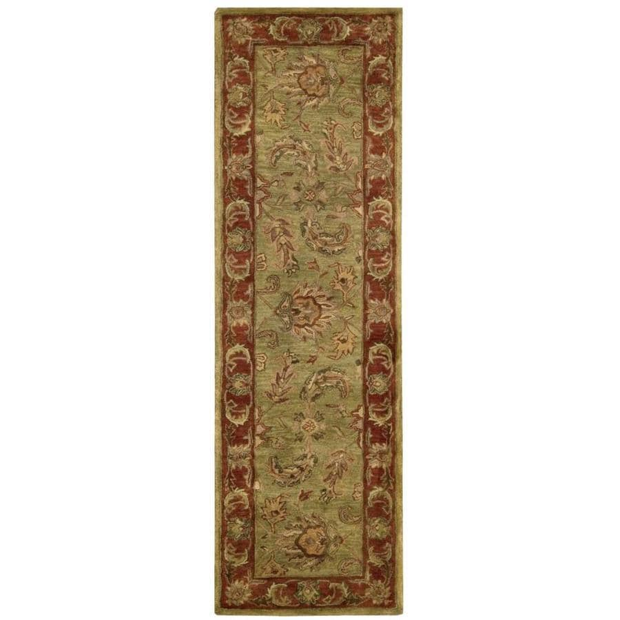 Nourison Jaipur Olive Rectangular Indoor Handcrafted Area Rug (Common: 2 x 8; Actual: 2.33-ft W x 8-ft L x 0.75-ft dia)