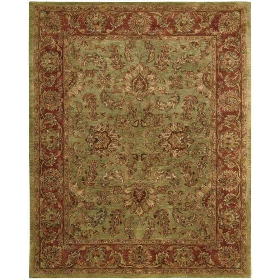 Nourison Jaipur Olive Rectangular Indoor Handcrafted Area Rug (Common: 8 x 11; Actual: 8.25-ft W x 11.5-ft L x 0.75-ft dia)