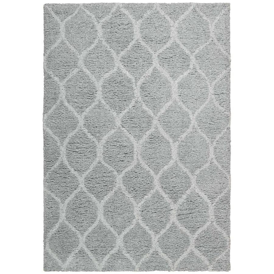 Nourison GALWAY Light Grey Rectangular Indoor Handcrafted Area Rug (Common: 5 x 8; Actual: 5.5-ft W x 7-ft L x 1.5-ft dia)