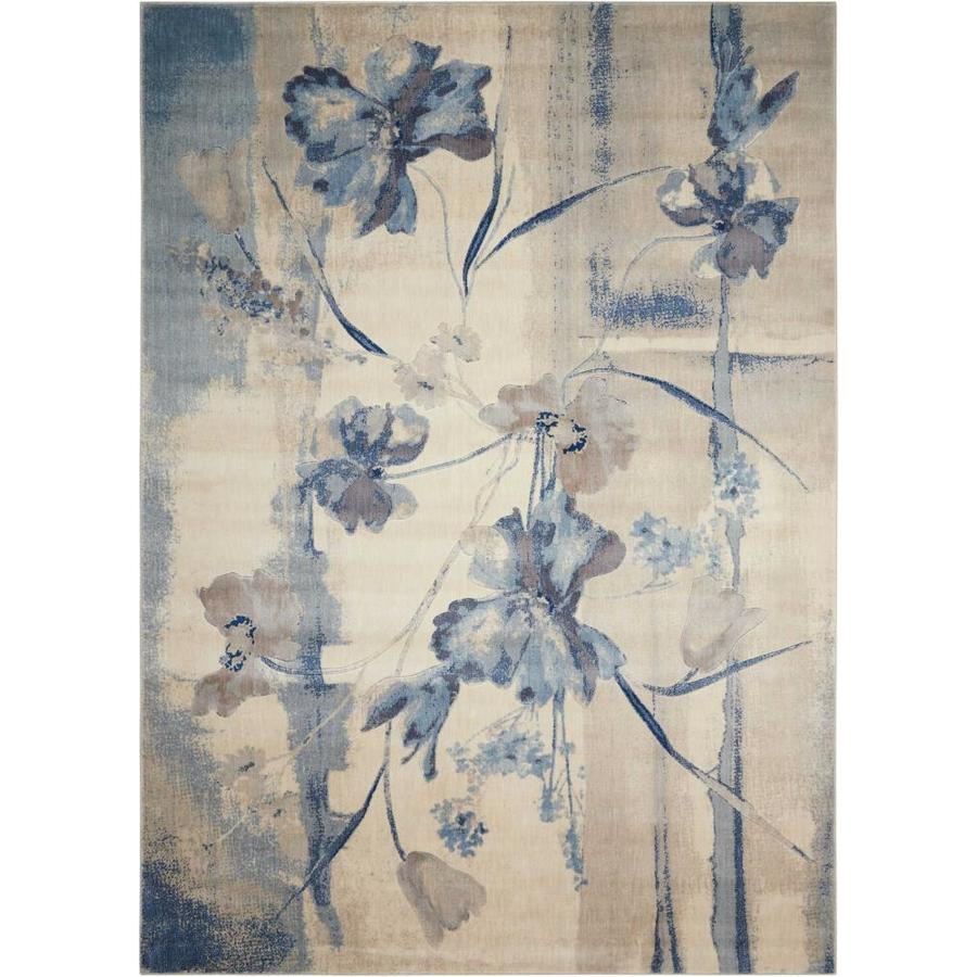 Nourison Somerset Ivory Blue Indoor Area Rug (Common: 8 x 10; Actual: 7.75-ft W x 10.8333-ft L)