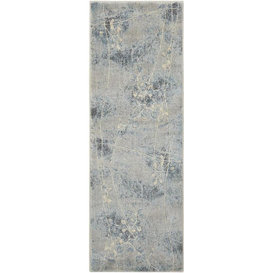 Nourison Somerset Gray/Blue Rectangular Indoor Area Rug (Common: 2 x 7; Actual: 2.25-ft W x 8-ft L x 0.5-ft dia)