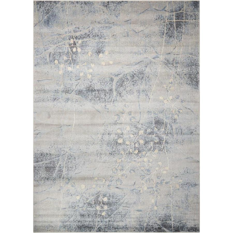 Nourison Somerset Silver/Blue Indoor Area Rug (Common: 3 x 5; Actual: 3.5-ft W x 5.5-ft L x 0.5-ft dia)