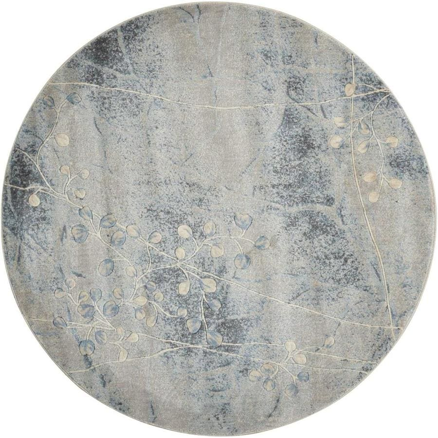 Nourison Somerset Gray/Blue Round Indoor Area Rug (Common: 5 x 5; Actual: 5-ft W x 5-ft L x 0.5-ft dia)