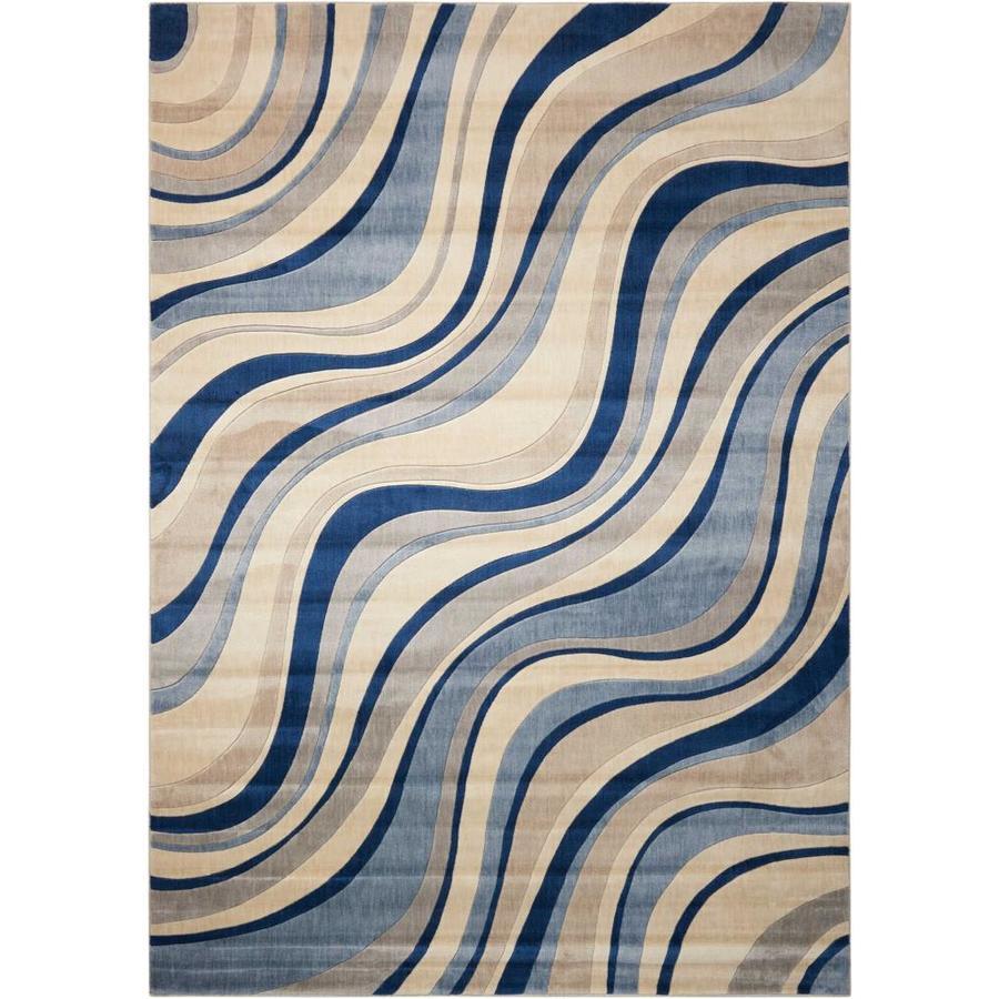 Nourison Somerset Ivory Blue Rectangular Indoor Area Rug (Common: 9 x 13; Actual: 9.5-ft W x 13-ft L x 0.5-ft dia)