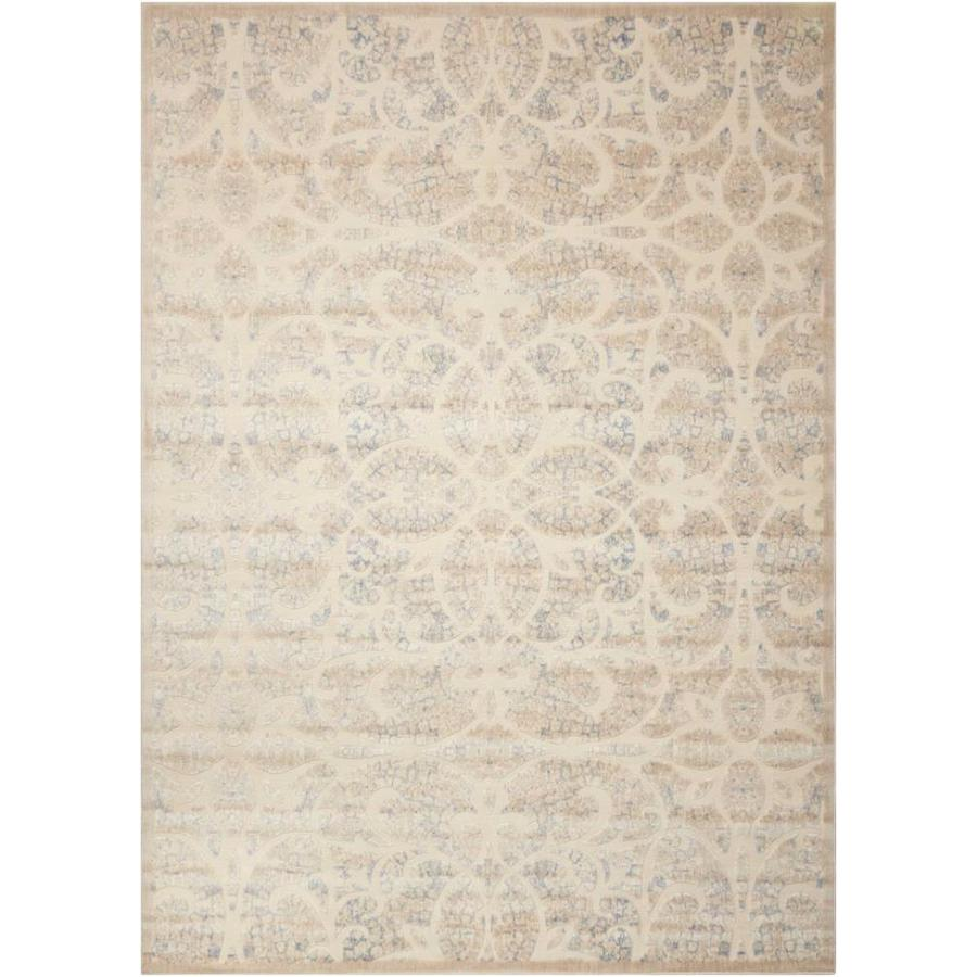 Nourison Graphic Illusions Beige/Sand Indoor Area Rug (Common: 8 x 10; Actual: 7.75-ft W x 10.83-ft L x 0.5-ft dia)