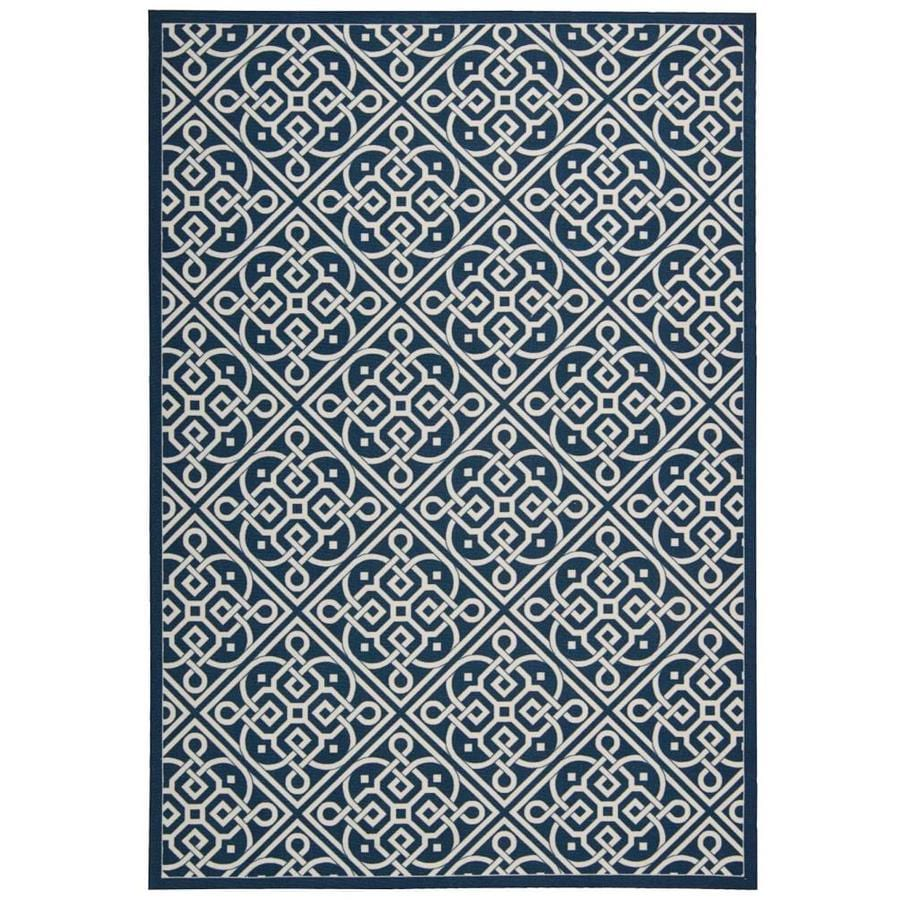 Nourison Wav01/Sun and Shade Navy Rectangular Indoor/Outdoor Area Rug (Common: 8 x 10; Actual: 7.75-ft W x 10.83-ft L x 0.25-ft dia)