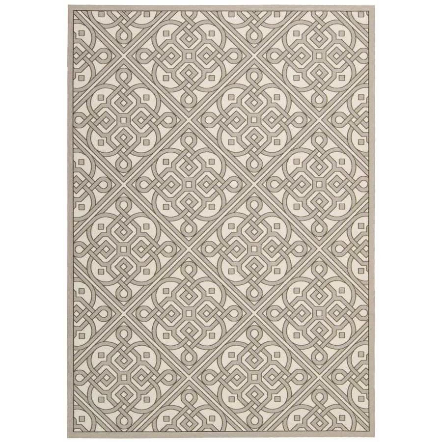 Nourison Wav01/Sun and Shade Stone Rectangular Indoor/Outdoor Area Rug (Common: 5 x 7; Actual: 5.25-ft W x 7.42-ft L x 0.25-ft dia)