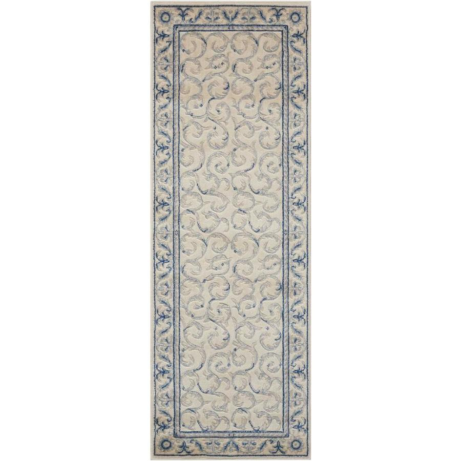 Nourison Somerset Ivory Blue Area Rug (Common: 2 x 6; Actual: 2-ft W x 5.75-ft L)