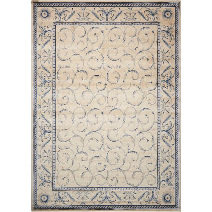 Nourison Somerset Ivory Blue Area Rug (Common: 3 x 5; Actual: 3.5-ft W x 5.5-ft L)