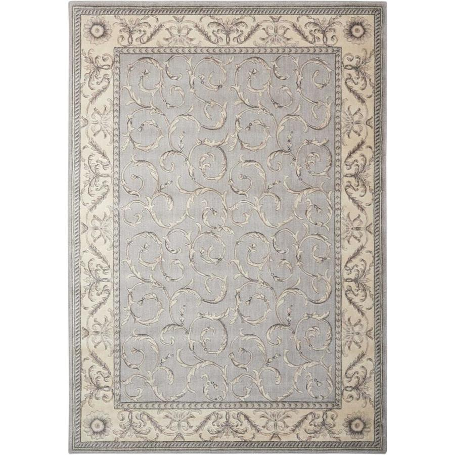 Nourison Somerset Silver Indoor Area Rug (Common: 5 x 7; Actual: 5.25-ft W x 7.42-ft L x 0.5-ft dia)