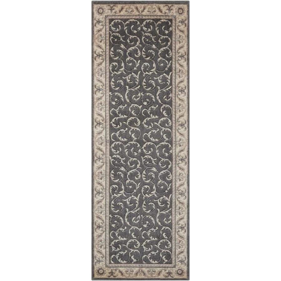Nourison SOMERSET Charcoal  Indoor  Traditional Area Rug (Common: 2 x 8; Actual: 2-ft W x 8-ft L)