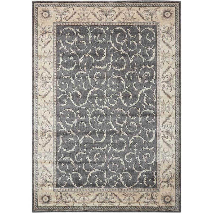 Nourison Somerset Charcoal Rectangular Indoor Area Rug (Common: 5 x 7; Actual: 5.25-ft W x 7.42-ft L x 0.5-ft dia)