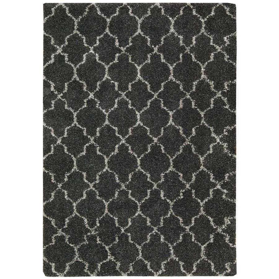 Nourison Amore Charcoal Rectangular Indoor Area Rug (Common: 7 x 9; Actual: 6.58-ft W x 9.5-ft L x 1.5-ft dia)