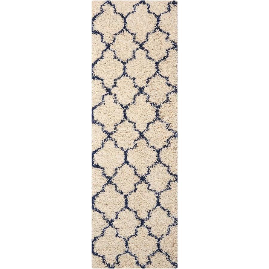 Nourison AMORE Ivory/Blue  Indoor  Shag Area Rug (Common: 2 x 8; Actual: 2-ft W x 7-ft L x 1-ft dia)