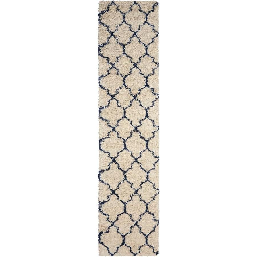 Nourison Amore Ivory/Blue Rectangular Indoor Area Rug (Common: 2 x 10; Actual: 2.17-ft W x 10-ft L x 1.5-ft dia)