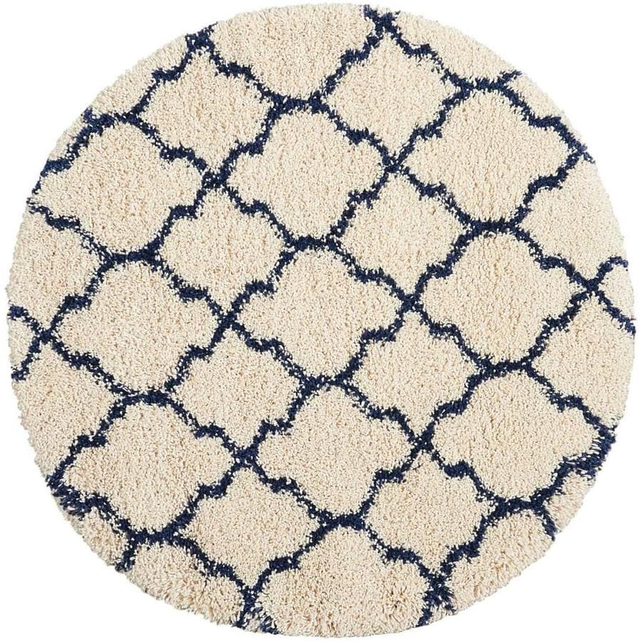 Nourison Amore Ivory/Blue Round Indoor Area Rug (Common: 3 x 4; Actual: W x L x 1.5-ft dia)