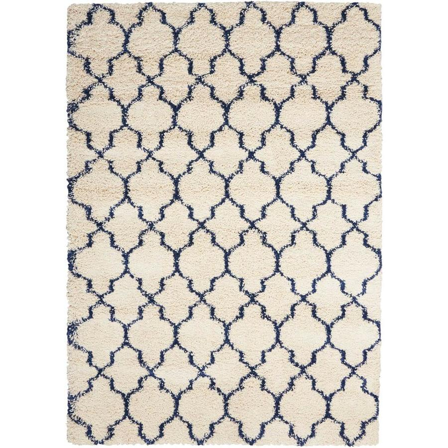Nourison Amore Ivory/Blue Indoor Area Rug (Common: 3 x 5; Actual: 3.1667-ft W x 5-ft L)
