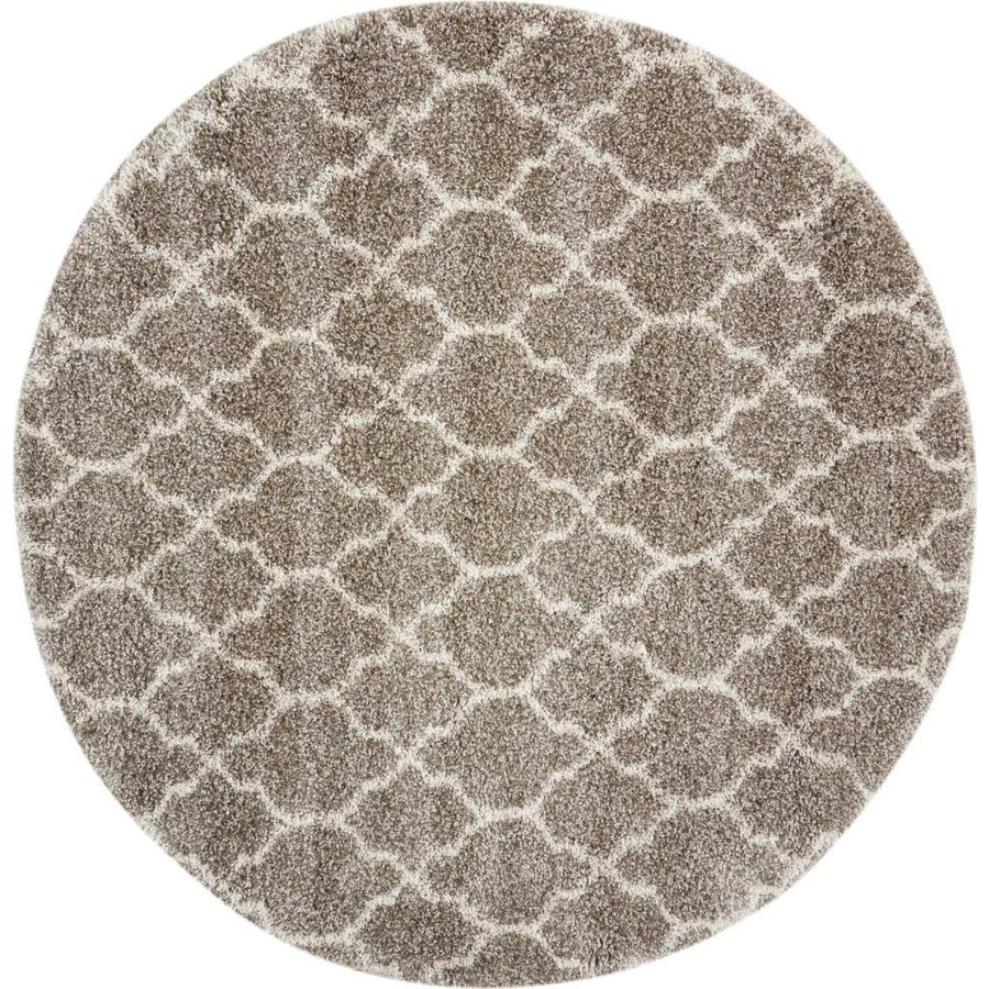 Nourison Amore Stone Rectangular Indoor Area Rug (Common: 7 x 7; Actual: 6.58-ft W x 6.58-ft L x 1.5-ft dia)