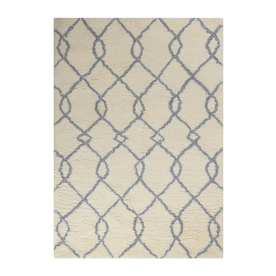 Nourison Galway Ivory Blue Indoor Handcrafted Area Rug (Common: 8 x 10; Actual: 7.5-ft W x 9.5-ft L x 1.5-ft dia)