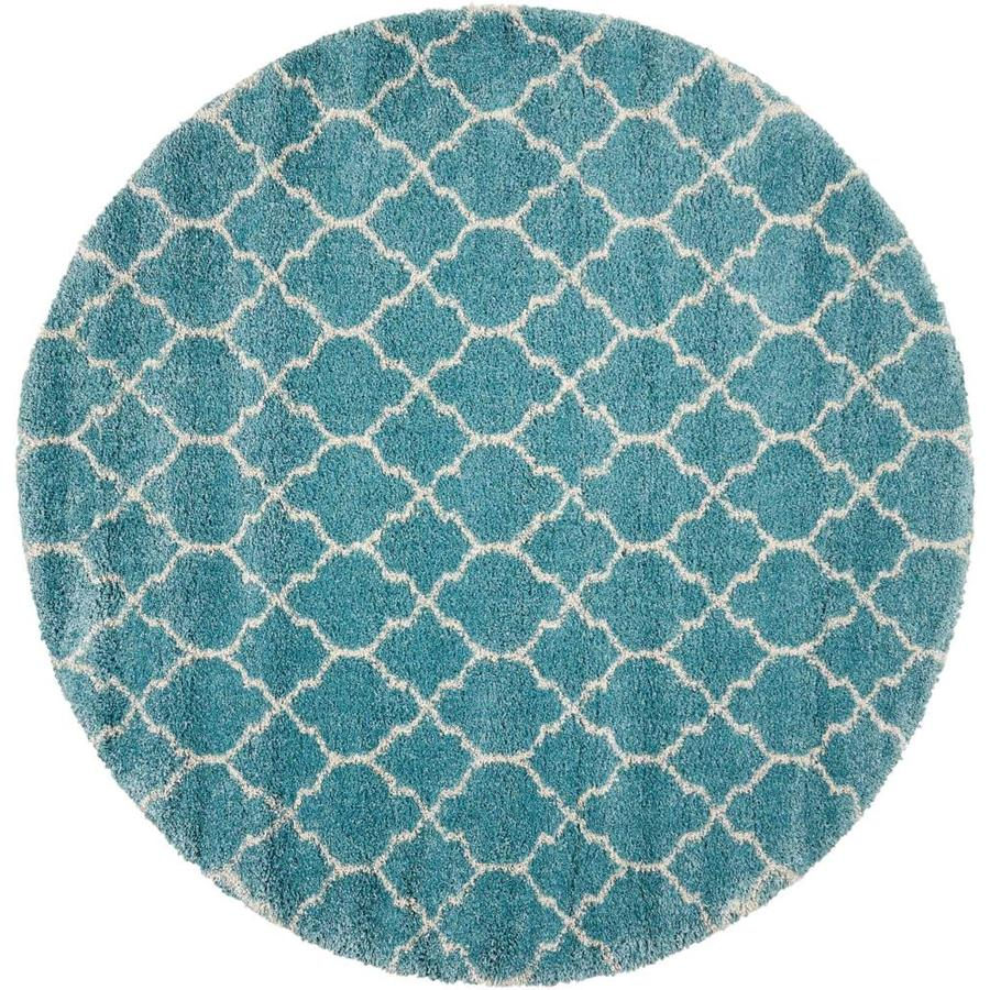 Nourison Amore Aqua Round Indoor Area Rug (Common: 7 X 7