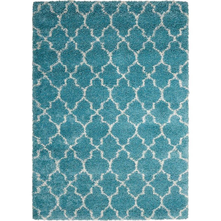 Nourison Amore Aqua Rectangular Indoor Area Rug (Common: 7 x 9; Actual: 6.58-ft W x 9.5-ft L x 1.5-ft dia)