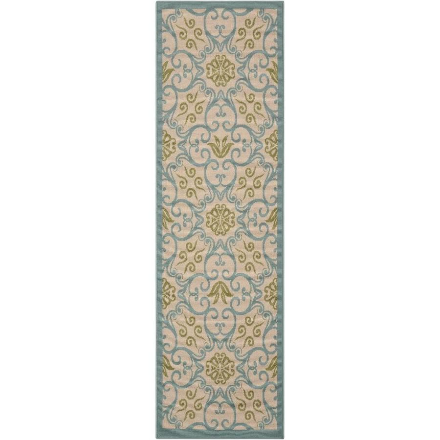 Nourison Caribbean Ivory Blue Indoor/Outdoor Area Rug (Common: 2 x 7; Actual: 2.25-ft W x 7.5-ft L x 0.25-ft dia)
