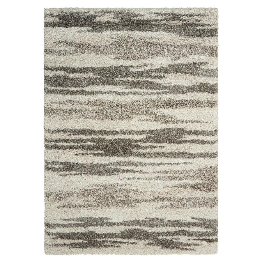 Nourison Amore Oyster Indoor Area Rug (Common: 5 x 7; Actual: 5.25-ft W x 7.42-ft L x 1.5-ft dia)