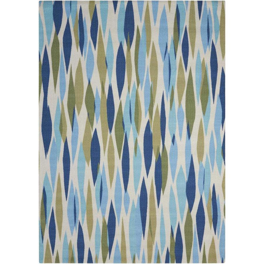 Nourison Wav01/Sun and Shade Seaglass Rectangular Indoor/Outdoor Area Rug (Common: 4 x 6; Actual: 4.25-ft W x 6.25-ft L x 0.25-ft dia)