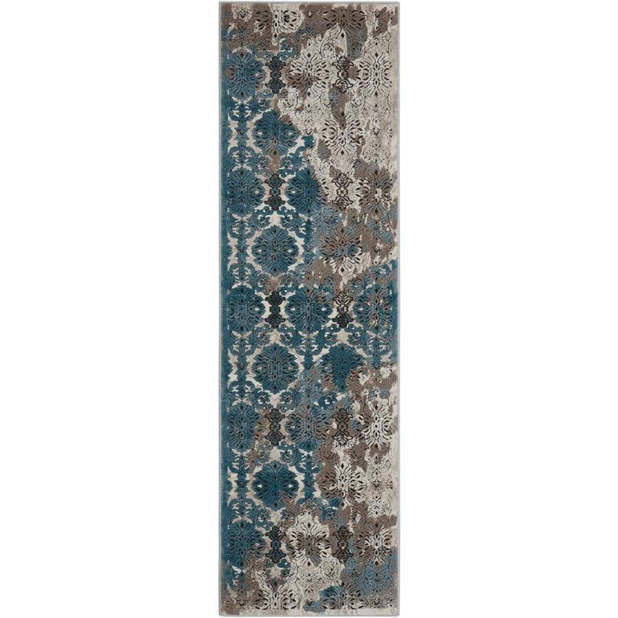 Nourison Karma Ivory Blue Rectangular Indoor Area Rug (Common: 2 x 7; Actual: 2.17-ft W x 7.5-ft L x 0.25-ft dia)