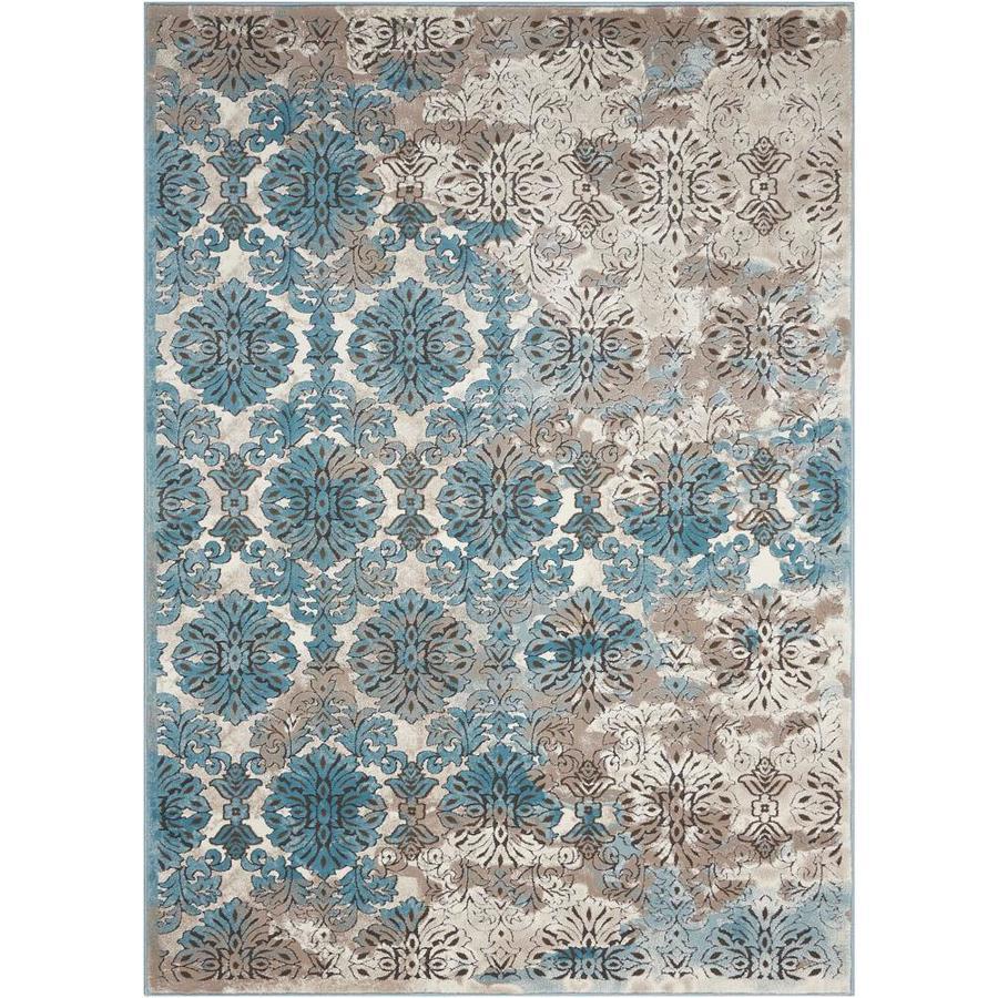 Nourison Karma Ivory Blue Rectangular Indoor Area Rug (Common: 9 x 13; Actual: 9.25-ft W x 12.75-ft L x 0.25-ft dia)