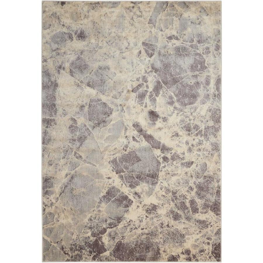 Nourison Somerset Gray Indoor Area Rug (Common: 5 x 7; Actual: 5.25-ft W x 7.42-ft L x 0.5-ft dia)