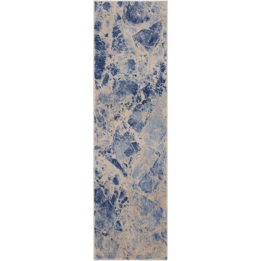 Nourison Somerset Blue Rectangular Indoor Area Rug (Common: 2 x 7; Actual: 2.25-ft W x 8-ft L x 0.5-ft dia)