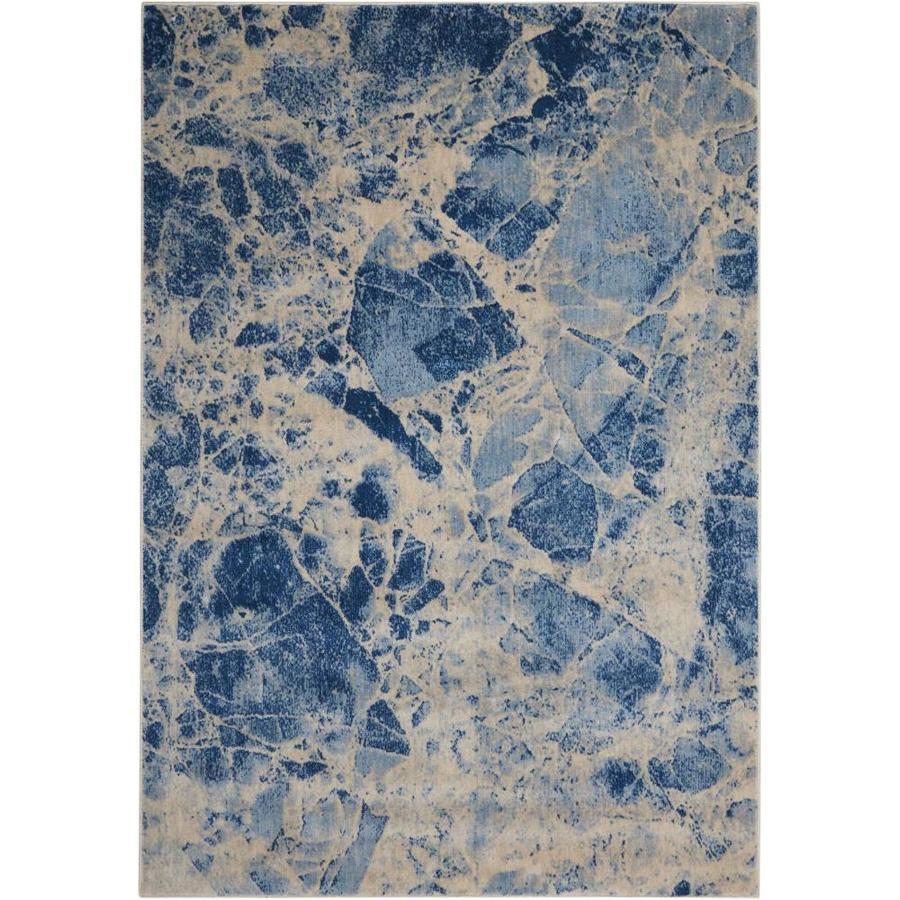 Nourison Somerset Blue Area Rug (Common: 5 x 7; Actual: 5.25-ft W x 7.42-ft L)