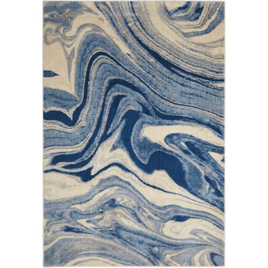 Nourison Somerset Light Blue Rectangular Indoor Area Rug (Common: 2 x 3; Actual: 2-ft W x 2.75-ft L x 0.5-ft dia)
